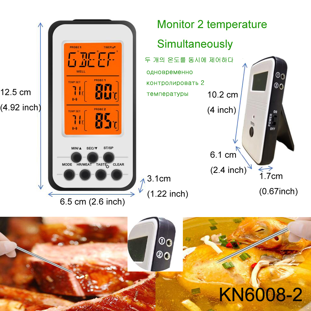Digital BBQ Thermometer Wireless Kitchen Oven Food Cooking Grill Smoker Meat Thermometer with Probe and Timer Temperature Alarm 2