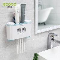 ECOCO Zahnbürste Halter Auto Quetschen Zahnpasta Spender Wand-mount Zahnbürste Zahnpasta Tasse Lagerung Bad Zubehör