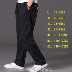 Image 2 - Lente zomer casual broek mannelijke big size 6XL Multi Pocket Jeans oversized Broek overalls elastische taille broek plus size mannen