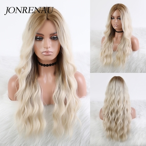 JONRENAU Long Loose Wave Synthetic Ombre Warm Blonde to Platinum Blonde Wigs for White Black Women Party Hair wig