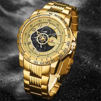NAVIFORCE NF9180 Mens Sports Watch Gold Full Steel Quartz Watches Waterproof Military Clock-Gold