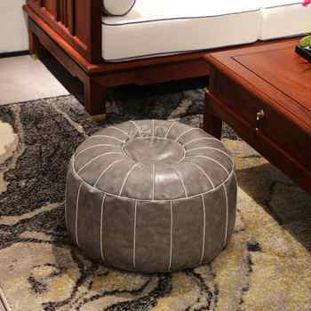 Moroccan PU Leather Pouf Embroider Craft Ottoman Footstool Round Large 55*55*30cm Artificial Leather Unstuffed Cushion