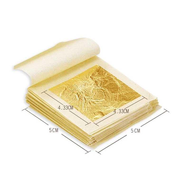 1PCS זהב אכיל עלה נייר גיליונות 4.33cm 24K טהור אמיתי פנים זהב רדיד לאומנויות עוגות Crafting שוקולדים קישוט DIY