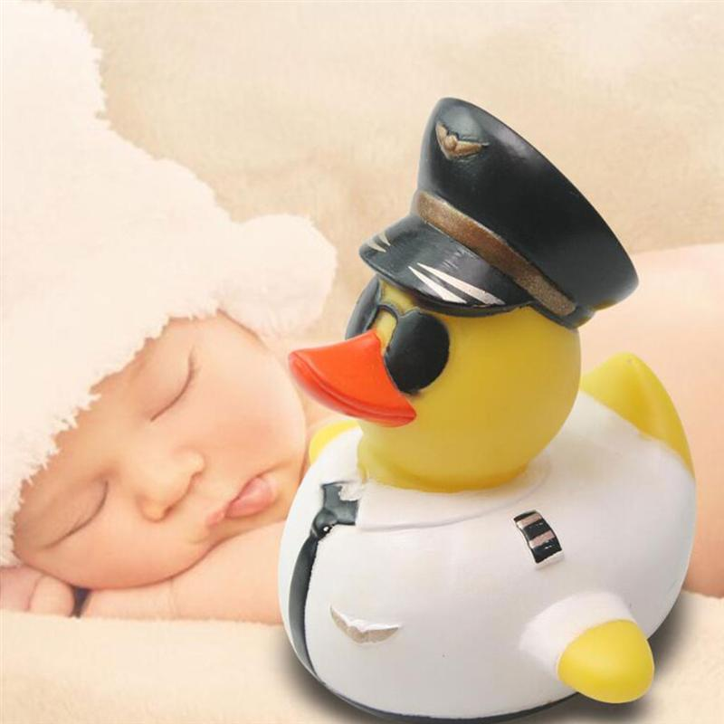 1Pc Baby Shower Rubber Duck Cute Pilot Duck Water Toy Creative Cartoon Shower Floating Toy Baby Swimming Toy