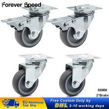 Roues de roulettes pivotantes résistantes de 50mm 150kg avec la roulette de meubles du chariot 4 pièces d'unité centrale de 2 freins