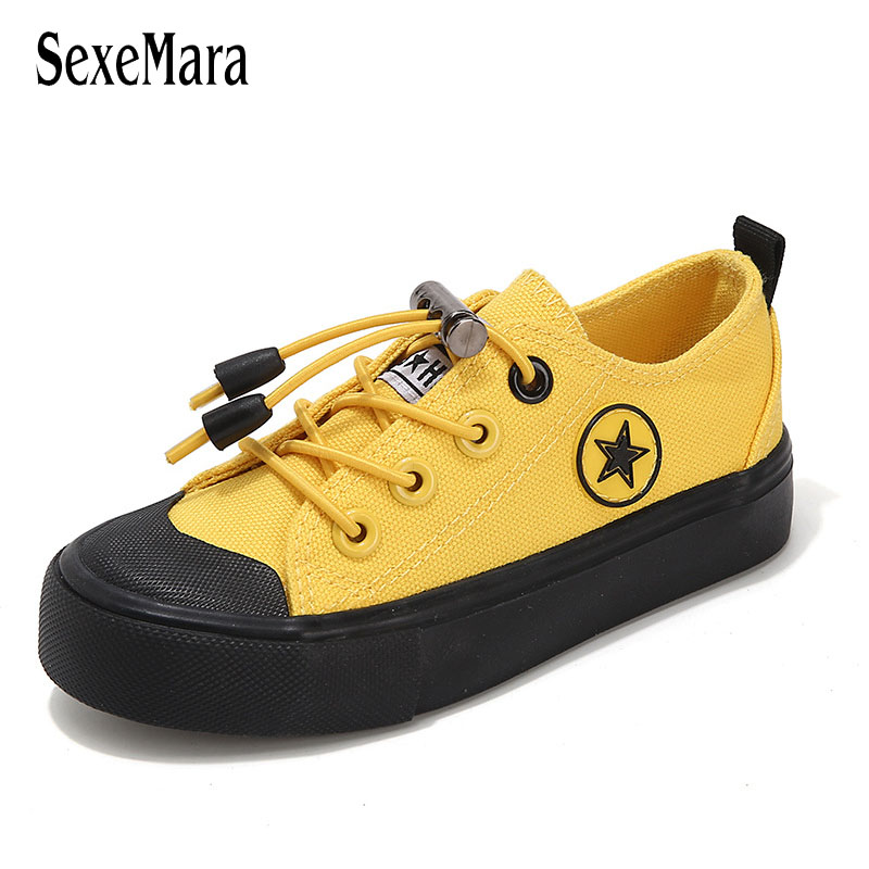 Unisex 2020 New Student Shoes Anti-Slippery Flats Shoes Black/Yellow/White Children Sneakers Baby Boys Canvas Shoes Girl C12091