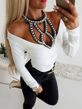 2019 Autumn Women Elegant V-neck White Basic Top Female Casual Party Shirt Female Beaded Embellished Halter Neck Blouse