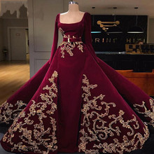 Puffy Overskirts Evening Dresses With Appliques Sash 2020 Dubai arabic Long Slee