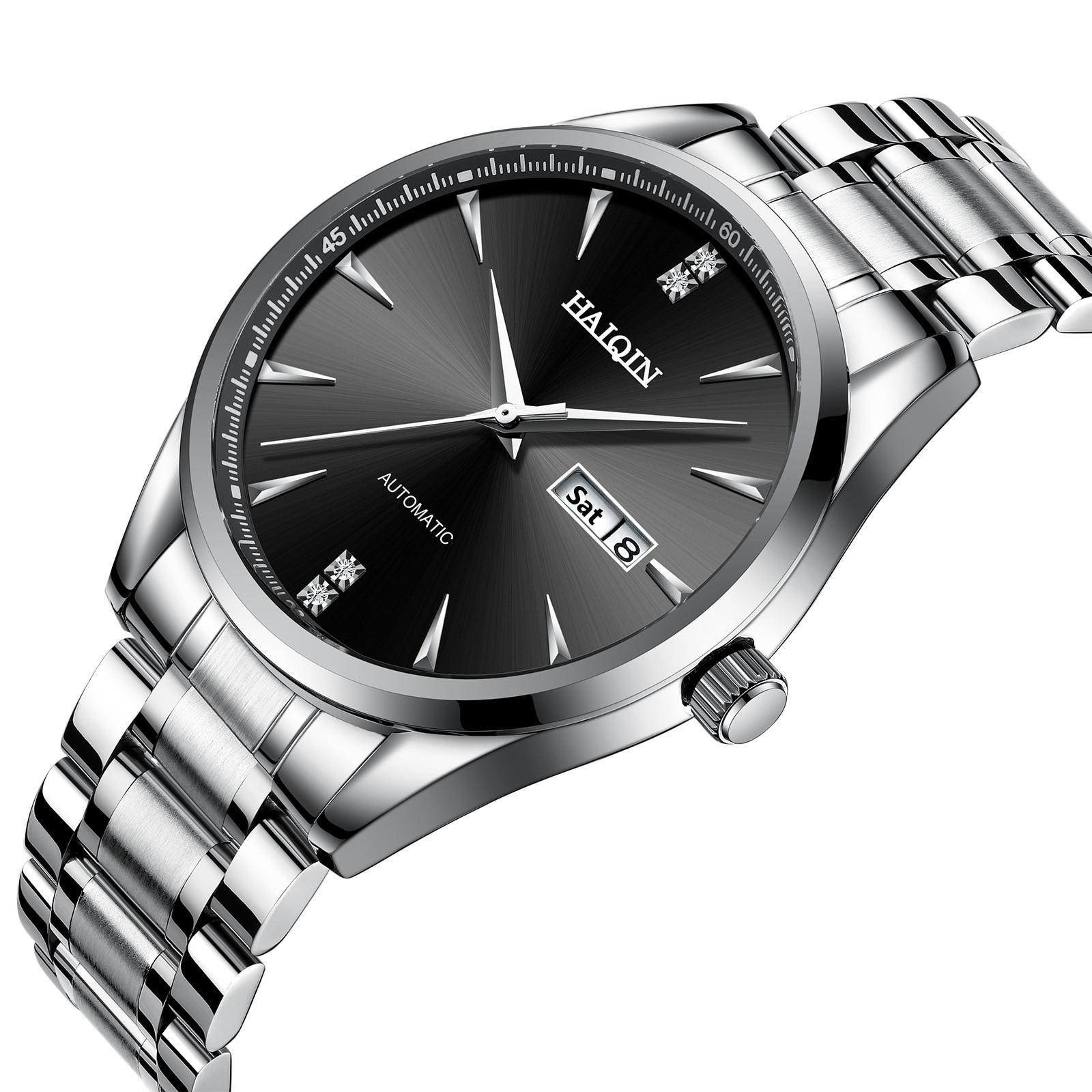 Montres mécaniques automatiques hommes HAIQIN décontracté en acier inoxydable étanche montre d'affaires montre-bracelet hommes relogio feminino