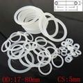 Белая Пищевая силиконовая резина, уплотнительное кольцо, шайба, поперечное сечение 5 мм OD 17-80 мм