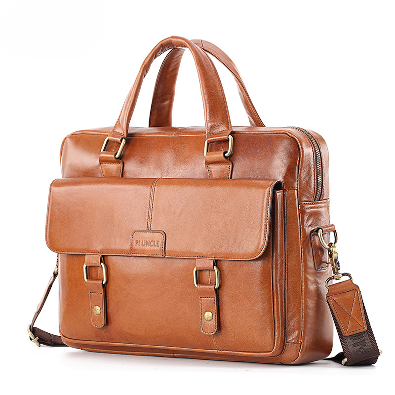 100% Cow Genuine Leather Men Briefcase Bag Business Handbag Male Laptop Shoulder Bags Tote Computer Natural Skin Men Briefcase