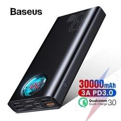 Baseus 30000mAh Banco De Potência USB C PD 3.0 Carregamento Rápido + Quick Charge 3.0 Portátil Bateria Externa para Samsung portátil Powerbank