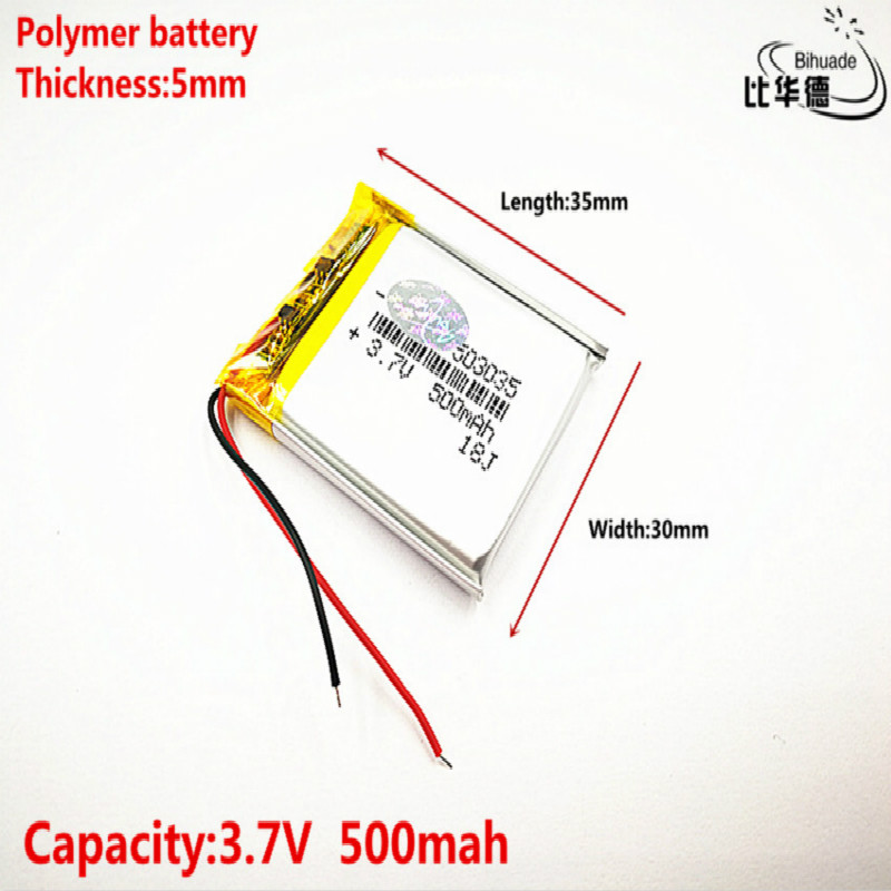 Good Qulity Polymer battery <font><b>500</b></font> <font><b>mah</b></font> <font><b>3.7</b></font> <font><b>V</b></font> 503035 smart home MP3 speakers Li-ion battery for dvr,GPS,mp3,mp4,cell phone,speaker image