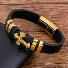 Trendy Charme Geflochtenen Seil Layered Magnetische Schwarz Leder Kreuz Armband Männer Armreifen Schmuck Zugehörigkeit