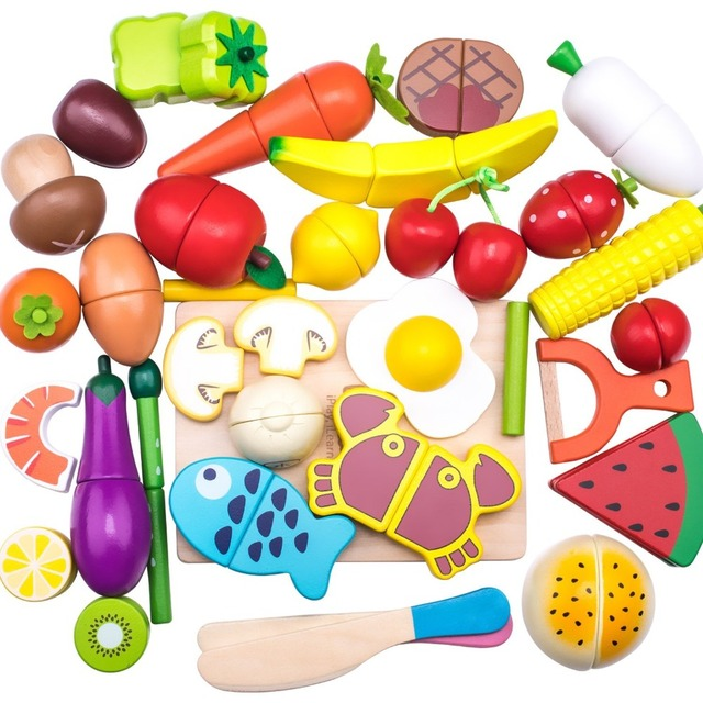 Wooden Cutting Cooking Play Food Sets Magnetic Wood Vegetables Fruits Pretend Play Kitchen Kits Toy  for 2 Years Up