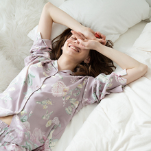 Aummer comfortable home wear Sleep tops  set spring and autumn silk blended cool Pajama suit