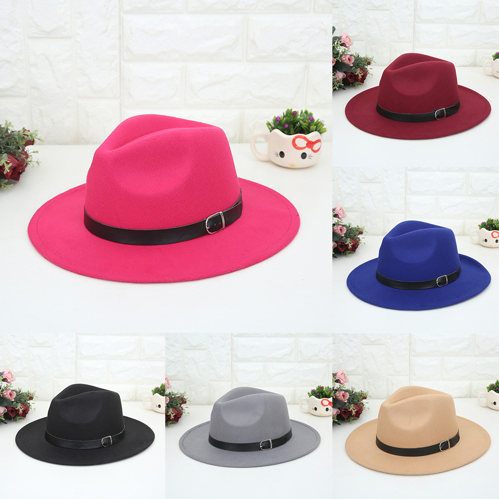 Women's Crushable Wool Felt Outback Panama Hat Wide Brim With Belt Cap Winter шапка кепка Czapka Zimowa Baseball Bucket 2019 New