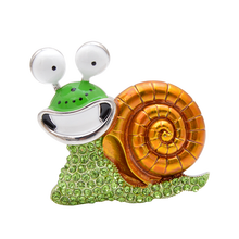 YoungTulip Rhinestone Laugh Snail shape Brooch Cartoon Insect Funny Brooches unisex Enamel Jewelry Design Gift cute green brooch cute brooch green enamel cactus brooches
