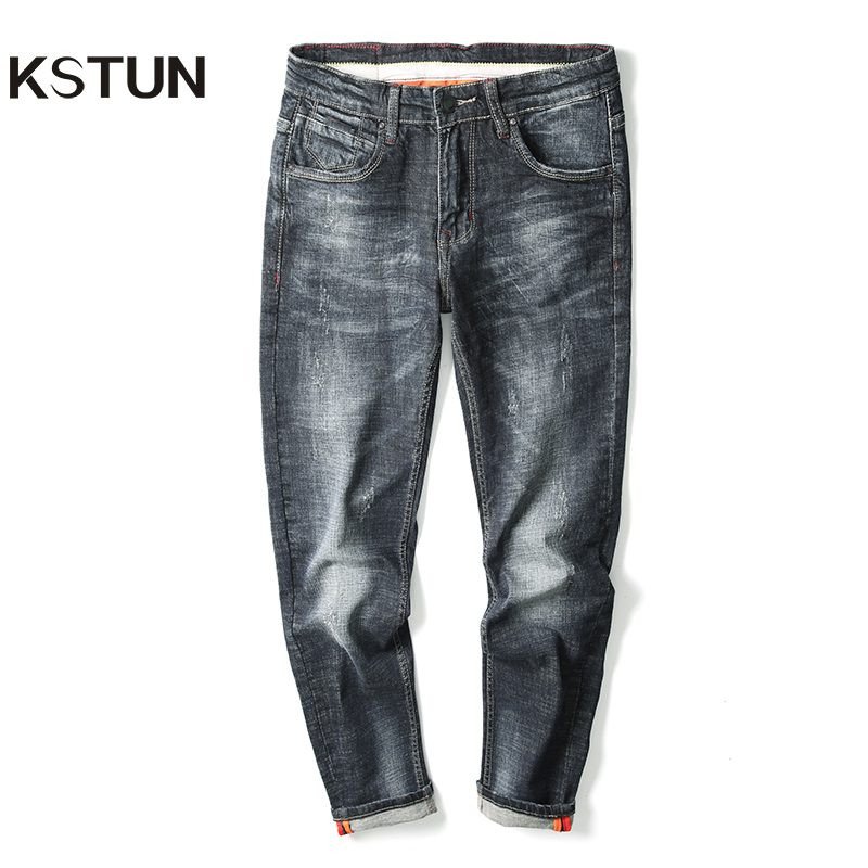 KSTUN Famous Brand Blue Black Jeans Men Stretch Thick Straight Denim Jeans Men Trousers Jeans Homme 2019 Nouveau Kot Pantolon 40