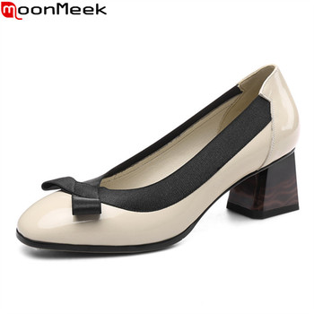 MoonMeek 2020 Big size 34-43 fashion women pumps genuine leather shallow party wedding shoes summer high heels ladies shoes