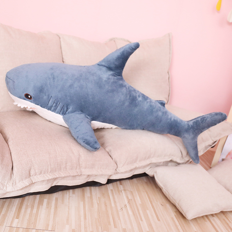 80/100/140cm Soft Cartoon Shark Doll Pillow Creative Plush Toy For Kids Appease Cushion Stuffed Plush Shark Toys Children Gifts image
