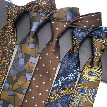 Fashion Mens Tie 8CM Brown Silk Neckwear Floral Dot Jacquard Woven Classic Neck Ties For Men Formal Business Wedding Party Groom