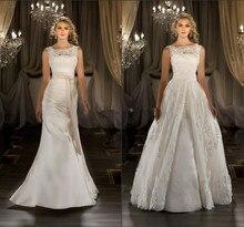 Новый сексуальный элегантный Scoop-образным вырезом кружева Cap рукавом с съемный хвост свадебное платье свадебное платье свадебное 2020 платье 2 в 1