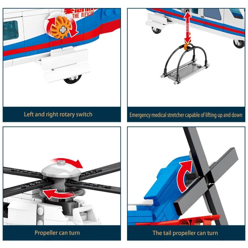 militar série helicóptero resgate técnica diy brinquedo