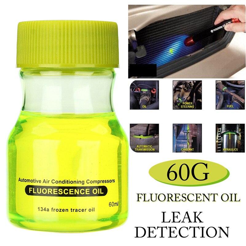 Aceite de fluorescencia con detección de fugas fluorescentes prueba de fugas tinte UV para detección de aire acondicionado para coche A/C tubería de reparación