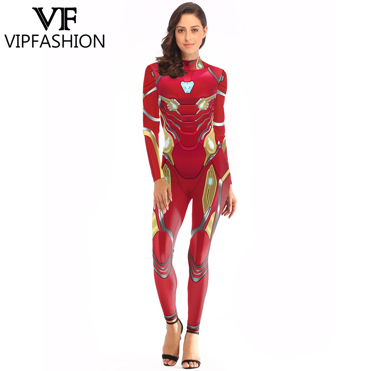 VIP FASHION 2020 Halloween Costumes For Women Movie Cosplay Bodysuit 3D Printed Avengers Superhero Iron Man Cosplay Costumes