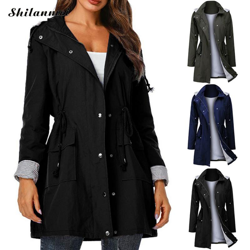 Punk Women Hooded Coat 2019 Autumn Fashion Drawsting   Trench   Windproof Casual Solid Zipper Waterproof Overcoat With Siamese Cap