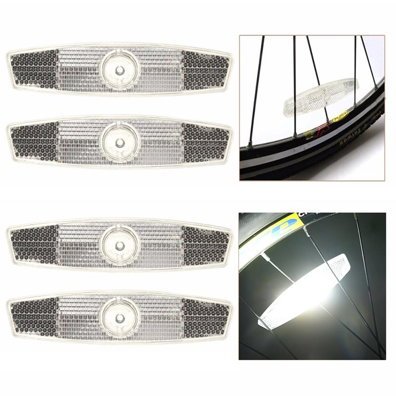 4 pièces vélo vélo parle réflecteur sécurité avertissement lumière Vintage jante réflecteur sécurité Clip lumière roue Tube montage réfléchissant B8Z6