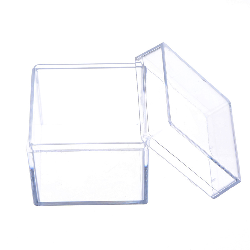 Clear Acrylic 5 Sided Jewelry Display Storage Box Case Square Cube Props Box