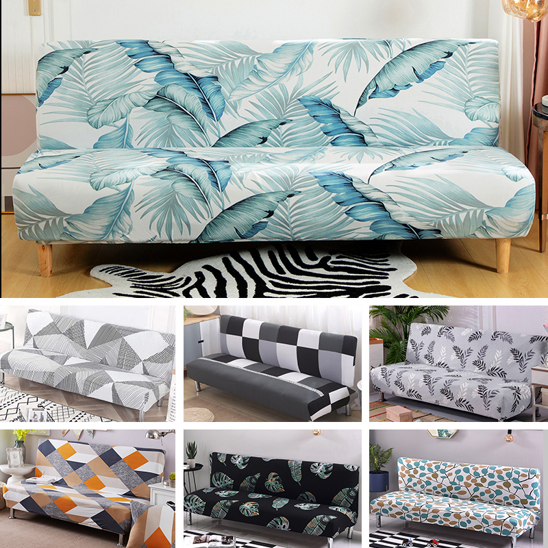 Armless Sofa Bed Cover Folding Seat Slipcover Modern Stretch Covers Cheap Couch Protector Elastic Futon Bench Cover 1 Piece