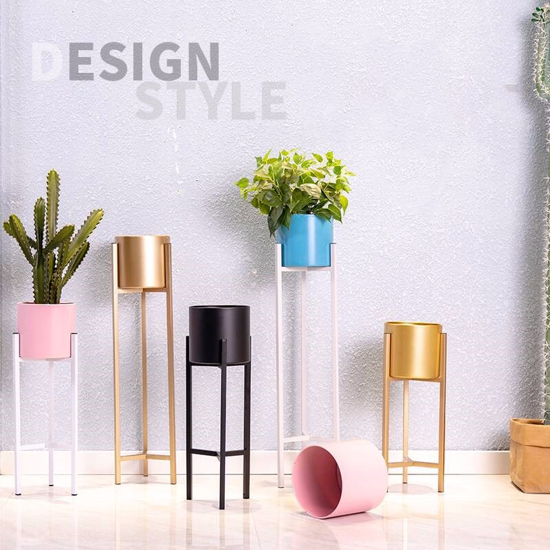 Art Flower Airs Golden Light Luxurious Wind  Flowerpot Shelves Indoor Landing Type Flower Rack Shelf