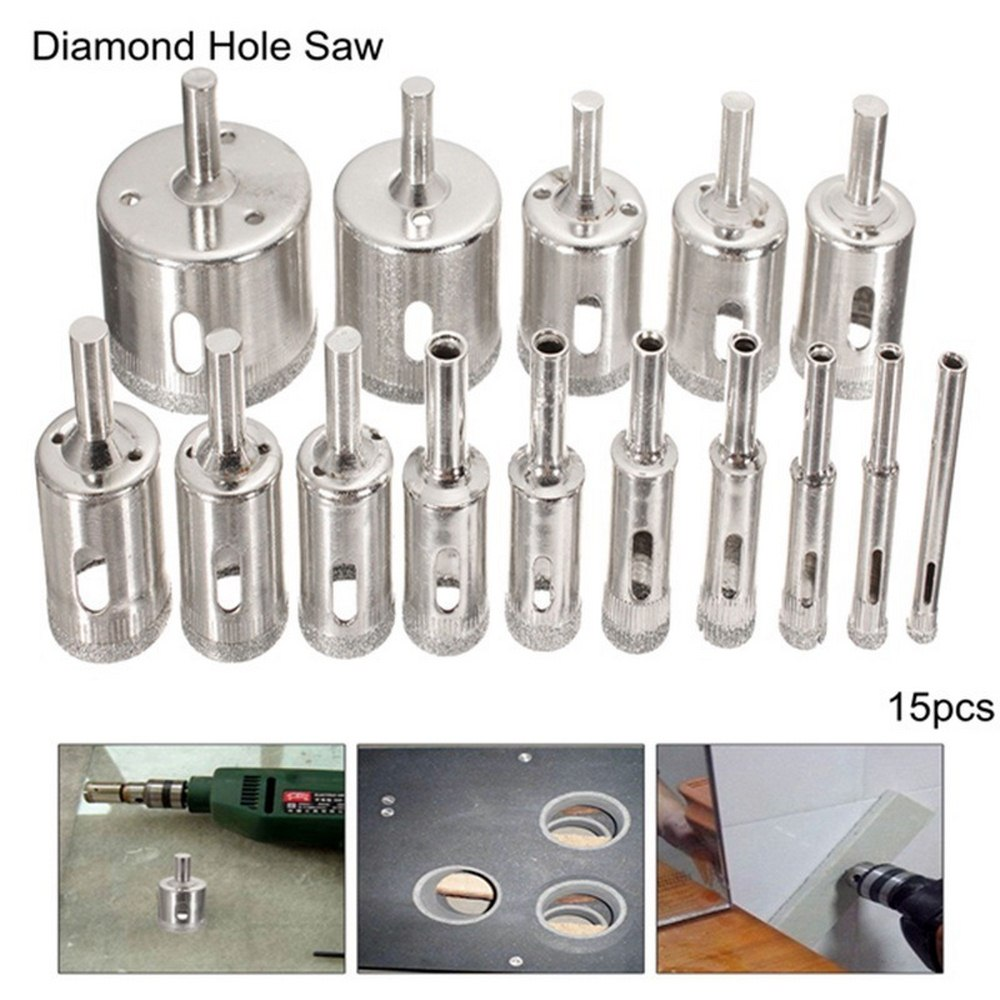 15pcs Glass Drill Bit Set Diamond Core Hole Saw Cutting Tools Coring Tile Porcelain  For Power Tools 6mm-50mm