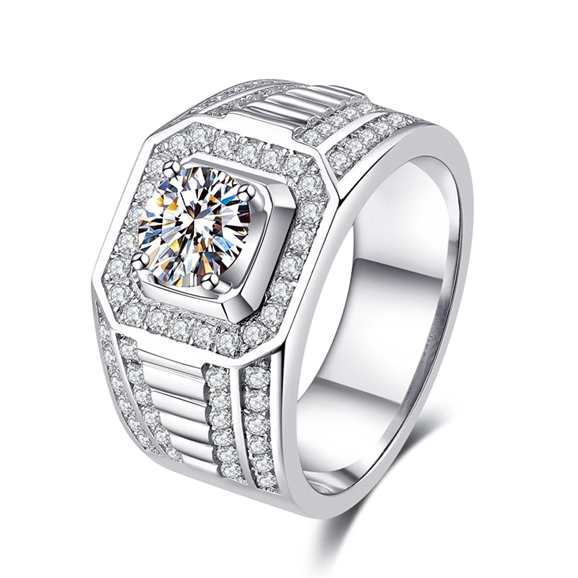 S925 Sterling Silber 2 Karat Diamant Ring für MenBizuteria Edelstein Schmuck Hüfte Bizuteria Silber 925 Schmuck Diamant Ring Anel