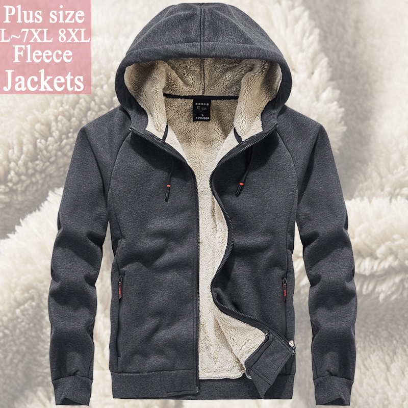 men`s windbreaker fleece jacket outwear winter coat men 6XL 7XL 8XL Fur hoodies soild color streerwear Tactical Soft Shell coat