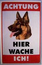 Uwaga pies owczarek niemiecki metalowy znak szyld metalowy znak blaszany