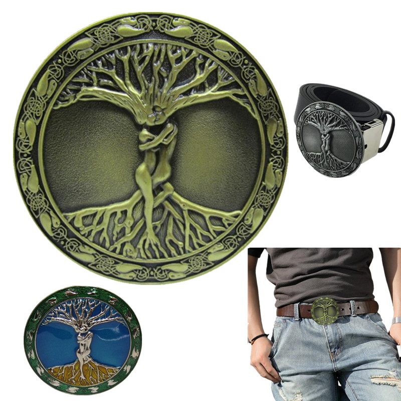 Belt Buckle Metal Electroplate Love Tree Icon Designer Luxury Cowboy Belt Buckles For Men Clothing Accessories Christmas Gifts