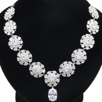 34x17mm  Elegant Created Flower White Sapphire CZ Ladies Present Silver Necklace 18.0-19.0in