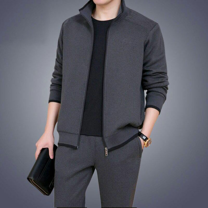 Middle-aged Men 2020 Spring New Style Leisure Sports Suit Daddy Clothes Outdoor Running Sports Two Piece Set