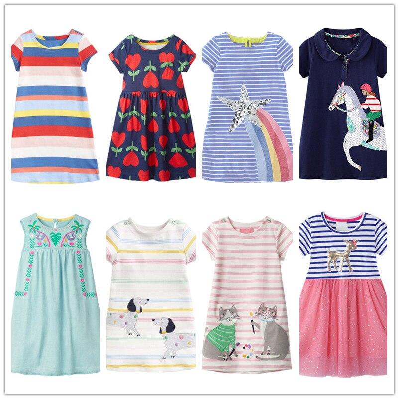 VIDMID bébé filles robes vêtements enfants coton robes de plage filles patchwork été marque vêtements pour 2-7 ans filles W01