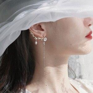MWsonya 2020 New Elegant Leaves flowers Long Chian Drop Earrings for Women pearls tassel Ear clip Girls Pendientes Sweet Jewelry
