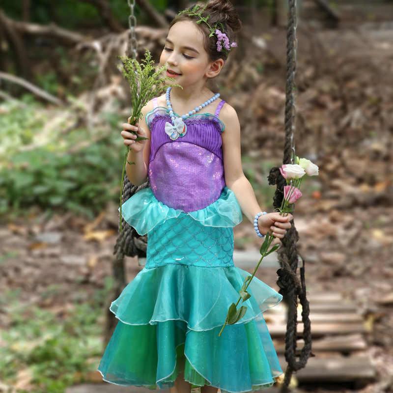 Disney Trẻ Em Áo Váy Cho Bé Gái Bộ Trang Phục Nàng Công Chúa Đầm Tiệc Halloween Giáng Sinh Hóa Trang Quần Áo Trẻ Em Nàng Tiên Cá Thanh Lịch Tốt