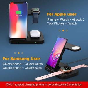 Image 4 - 5 Trong 1 Đế Đứng Sạc Nhanh Dành Cho Samsung S20 iPhone 11 IWatch 15W Sạc Không Dây Qi Cho Galaxy đồng Hồ Bánh Răng Nụ Tai Nghe Airpods Pro