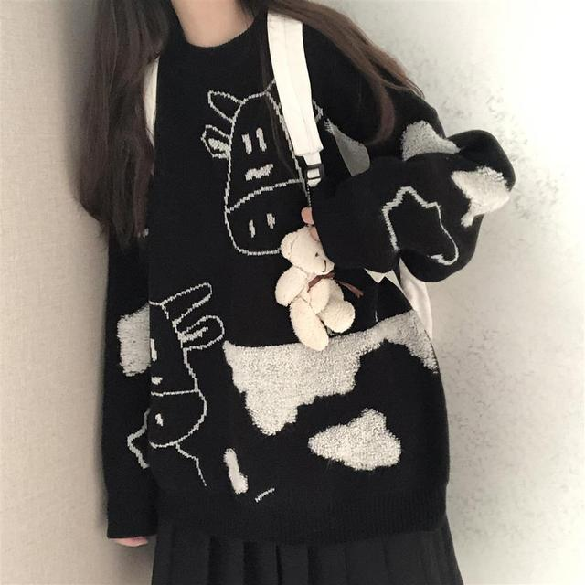 Sweater pullover autumn and winter new sweet pullover sweater female student Korean version loose wild sweater coat trend 2021 2