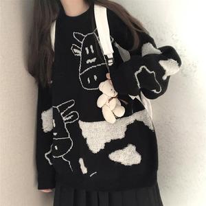 Свитер, пуловер, Новинка осени и зимы, милый пуловер, свитер для женщин, Студенческая Корейская версия, Свободный дикий свитер, пальто, тренд 2021 Водолазки      АлиЭкспресс