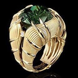 Nowy przyjeżdża Vintage osobowości pierścienie dla mężczyzn wysokiej jakości liście wkładka pierścień biżuteria prezent zielony AAA pierścionki z cyrkonią