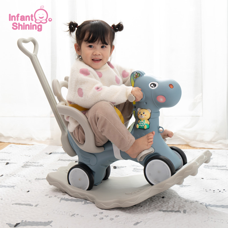 Infant Shining Kids Rocking Horse Toy Multi-functional Rocking Chairs Trojan Toys Baby Play Baby Walker Indoor For Girl Gift